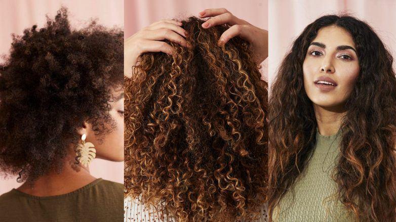 Guide des types de cheveux bouclés: Femme avec trois types de cheveux bouclés différents