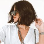 Woman with soft, dark layered bob