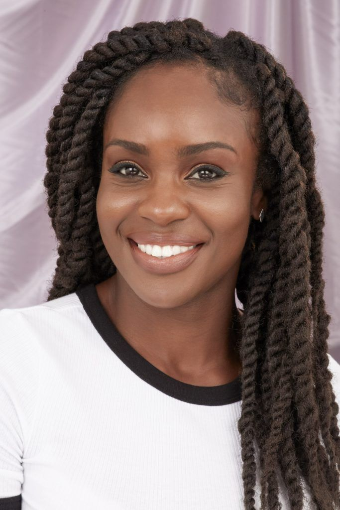 Woman with marley twists brown hair