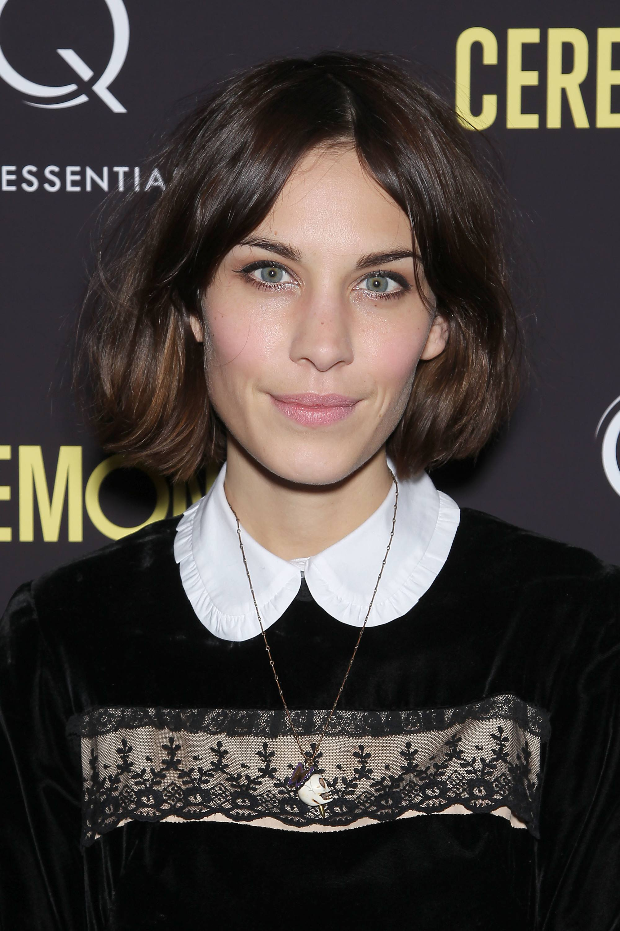 Alexa Chung with dark brown bob with chocolate highlights
