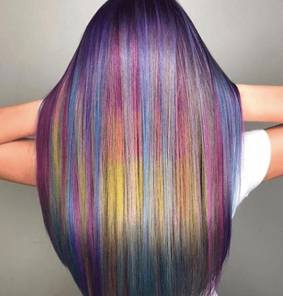 Couleur des cheveux de sirène arc-en-ciel de Instagram par @masterpiecehair