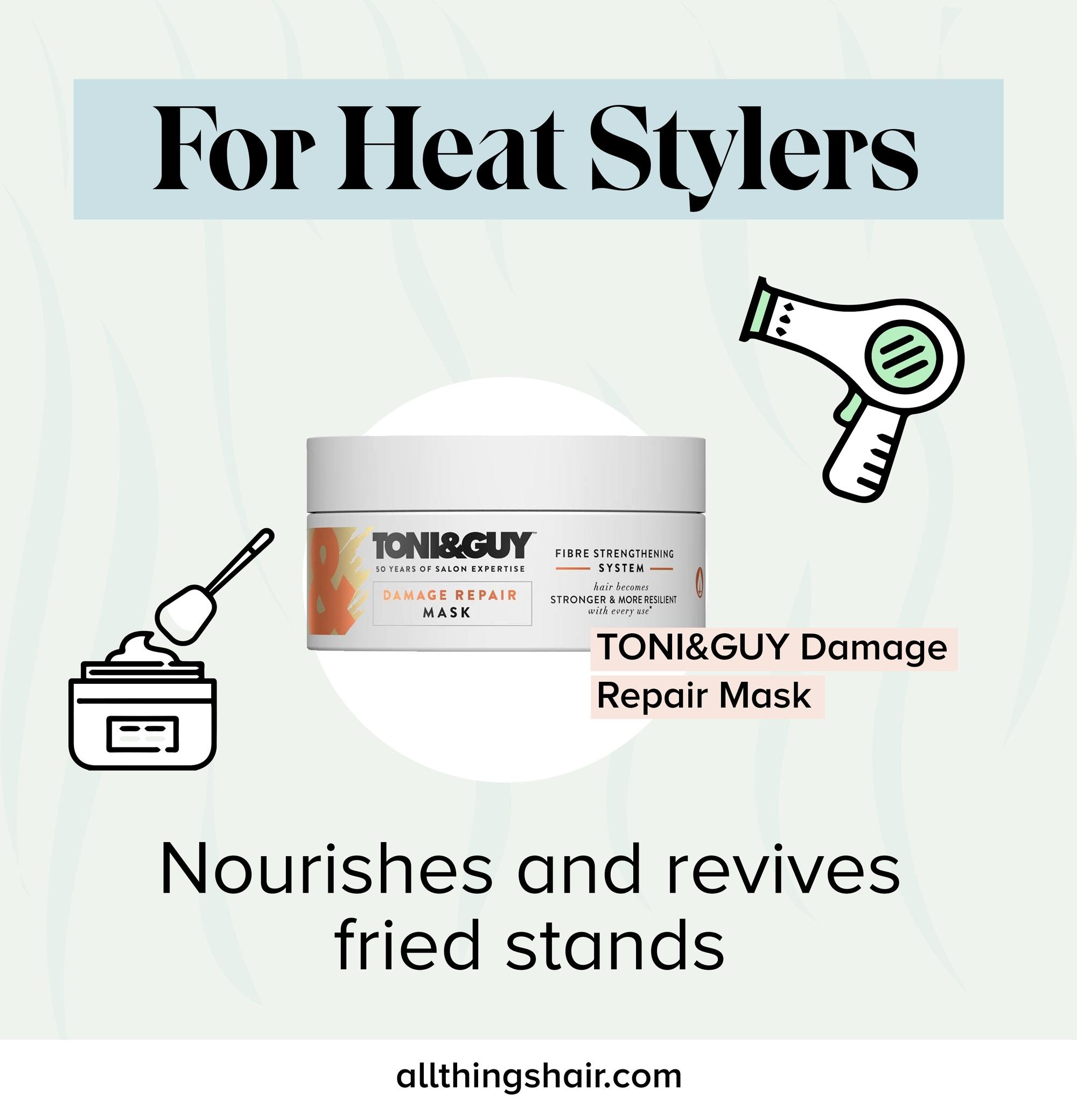 Masque infographique de réparation des dommages causés par la chaleur