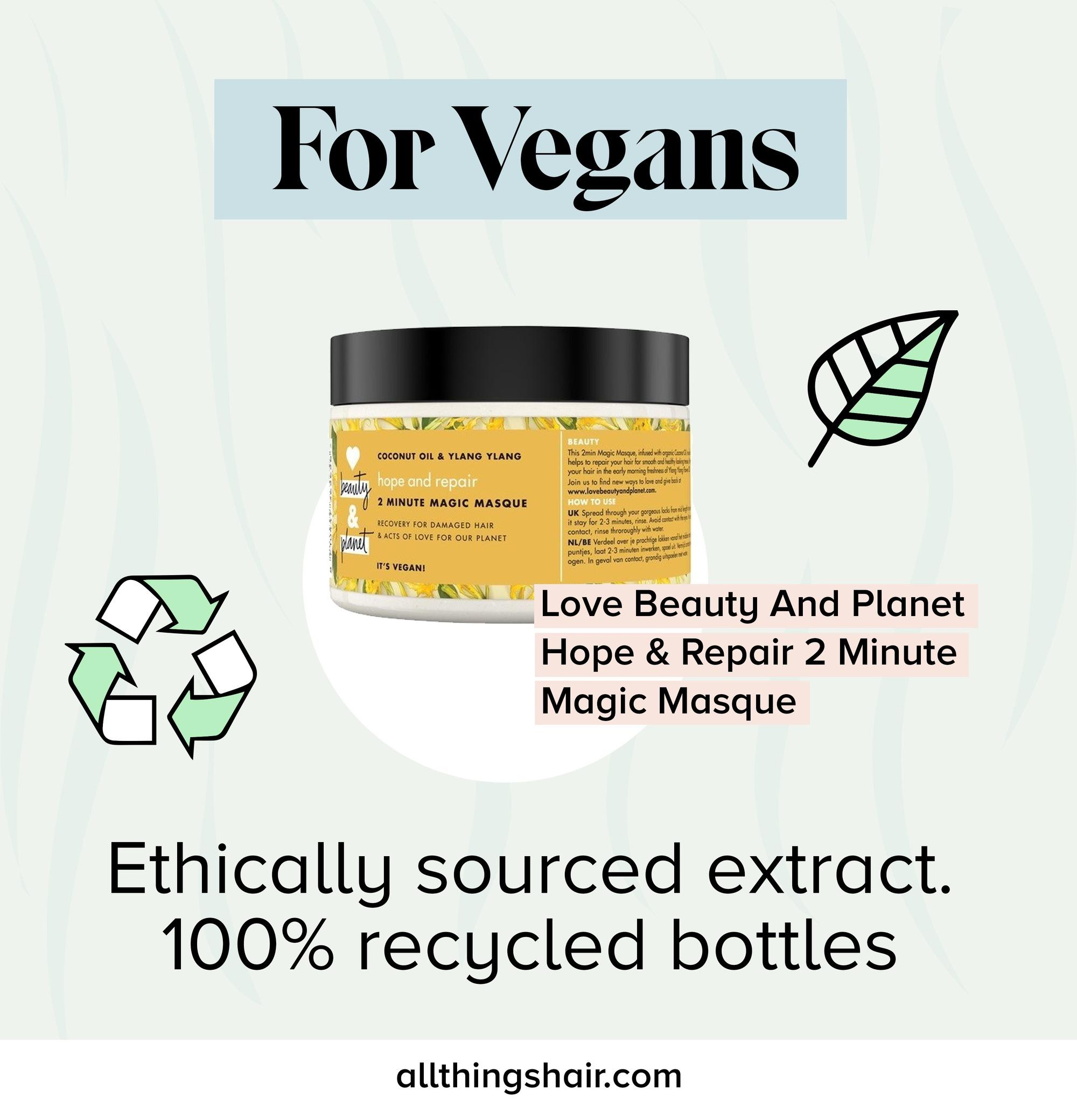 Vegan Love Beauty And Planet masque capillaire infographique