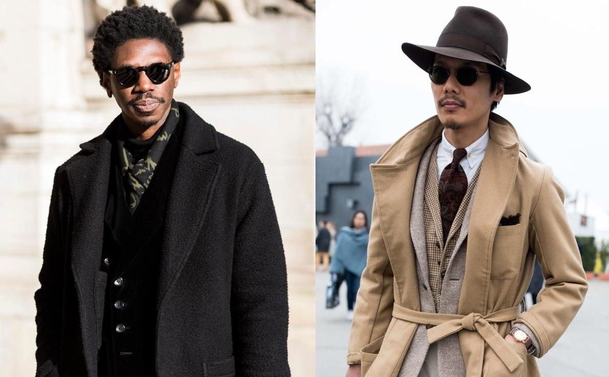 Barbe : Plan de rue de deux hommes avec différents types de barbe à bouc, l'un portant un chapeau, les deux portant des lunettes de soleil à l'extérieur