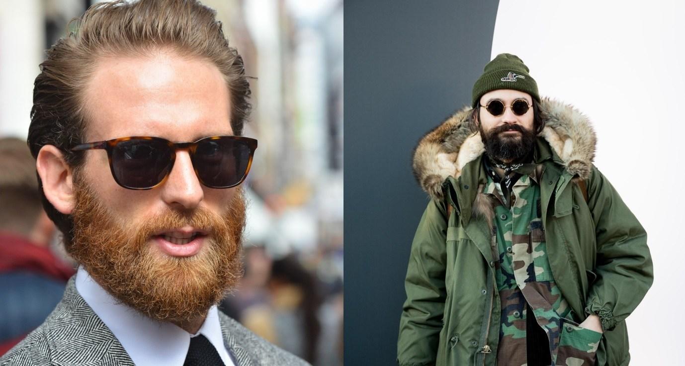 Barbe : Style de rue de deux hommes à la barbe pleine et robuste avec des moustaches