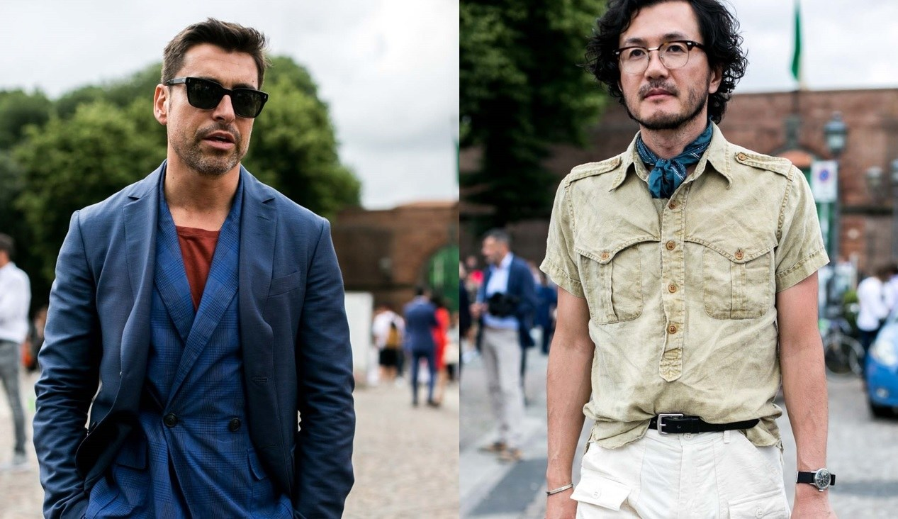 Barbe : Plan de rue de deux hommes à la barbe poilue, à peine visible,