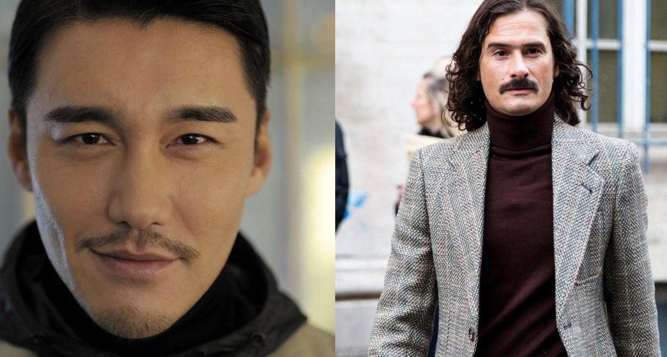 Barbe : Plan de rue de deux hommes à barbe moustachue