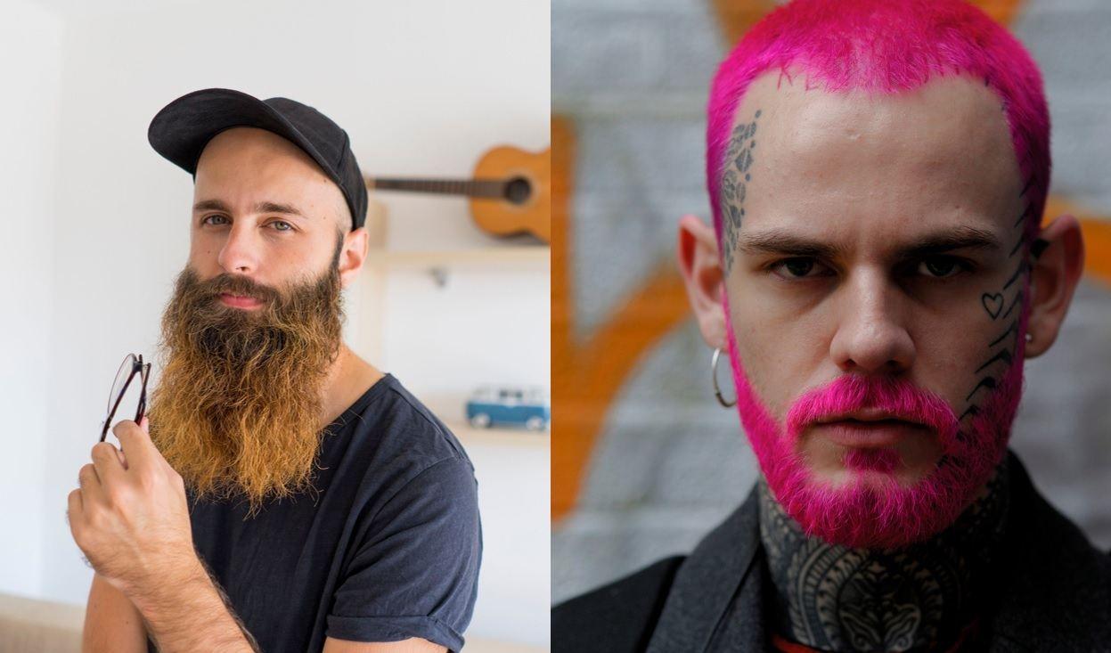 Guide des styles de barbe : Deux hommes à la barbe colorée, posant pour la photo