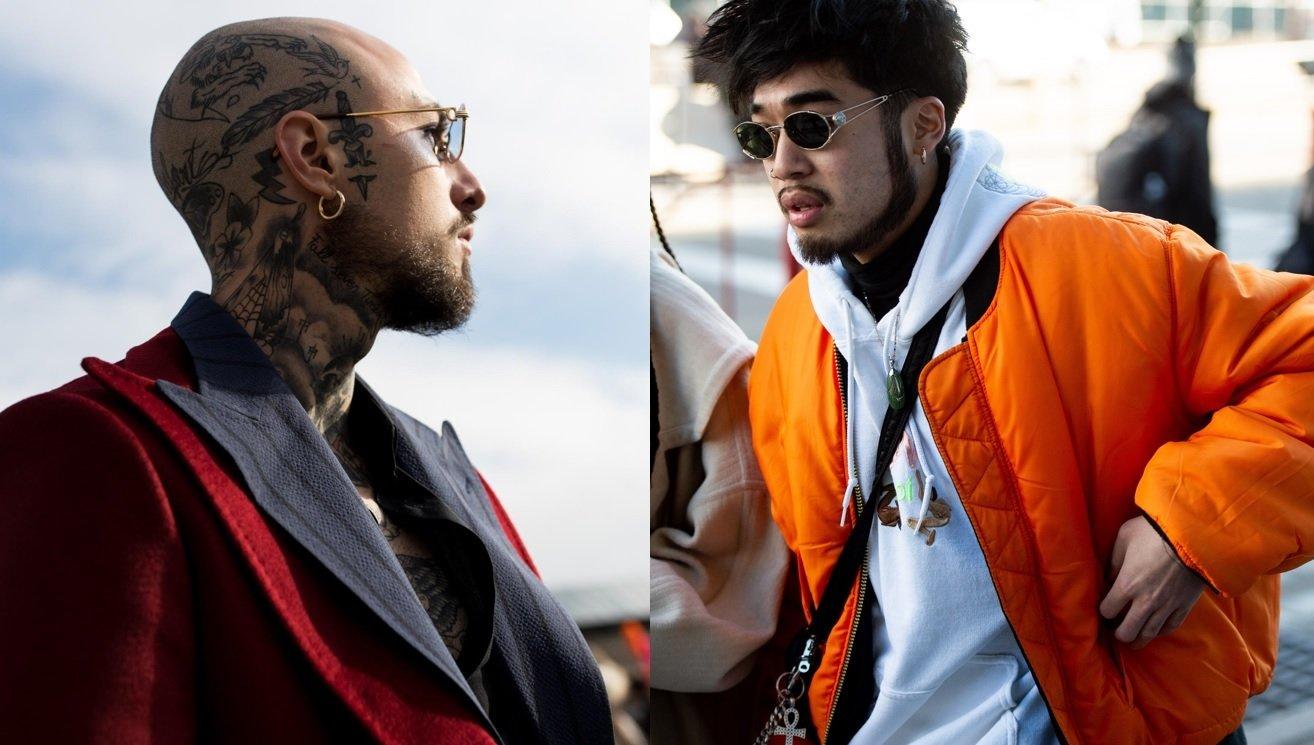Guide des styles de barbe : Plan de rue de deux hommes portant des barbes de mentonnière, tous deux portant des lunettes de soleil et posant à l'extérieur
