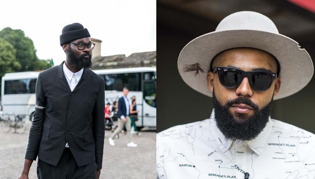 Barbe de style hipster : Deux types avec une barbe de type hipster, portant des lunettes et posant à l'extérieur
