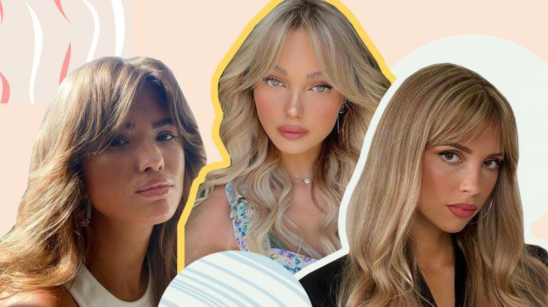 Image d'en-tête de trois filles avec des coiffures à frange de rideau 2020
