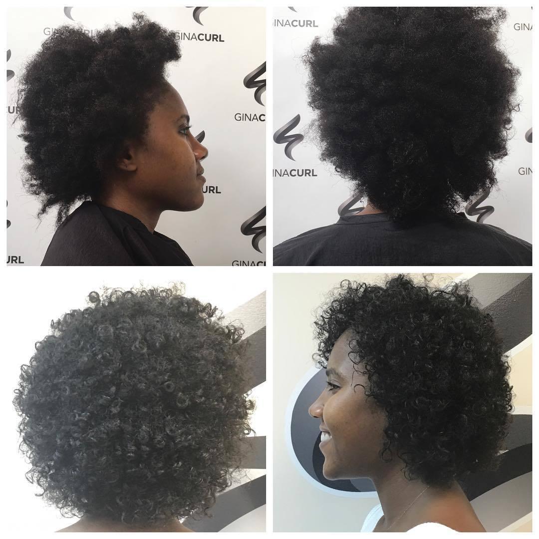 femme ayant des cheveux bouclés naturels avant et après a été permanente