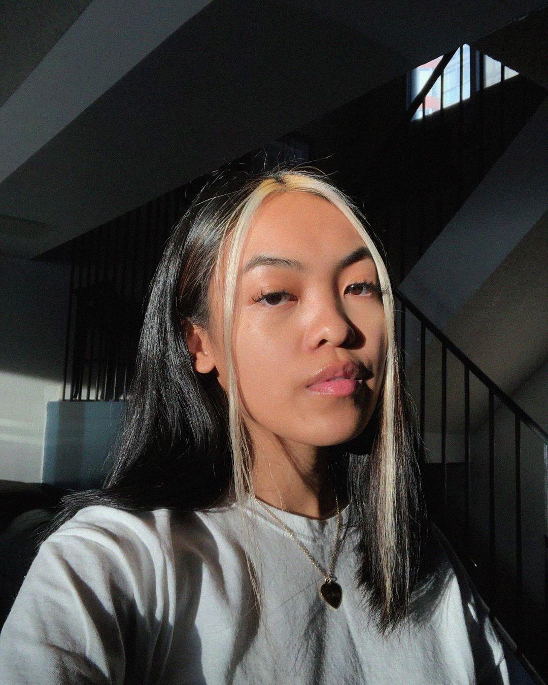 Fille aux cheveux brun foncé avec des mèches blondes décolorées sur le devant