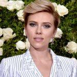 Scarlett Johansson with a platinum blonde pixie cut