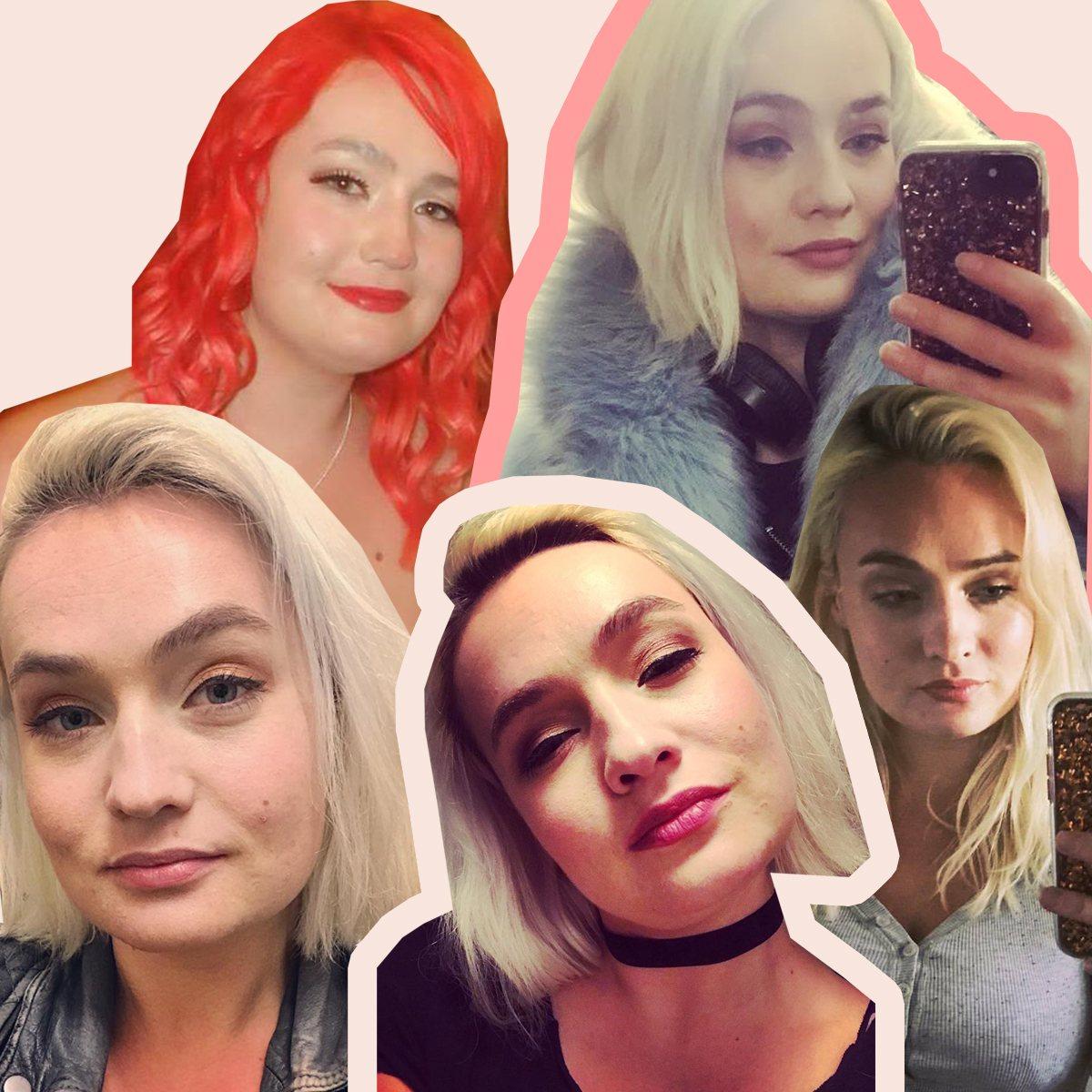 Femme avec différentes coiffures dont un rouge néon et un bob blond
