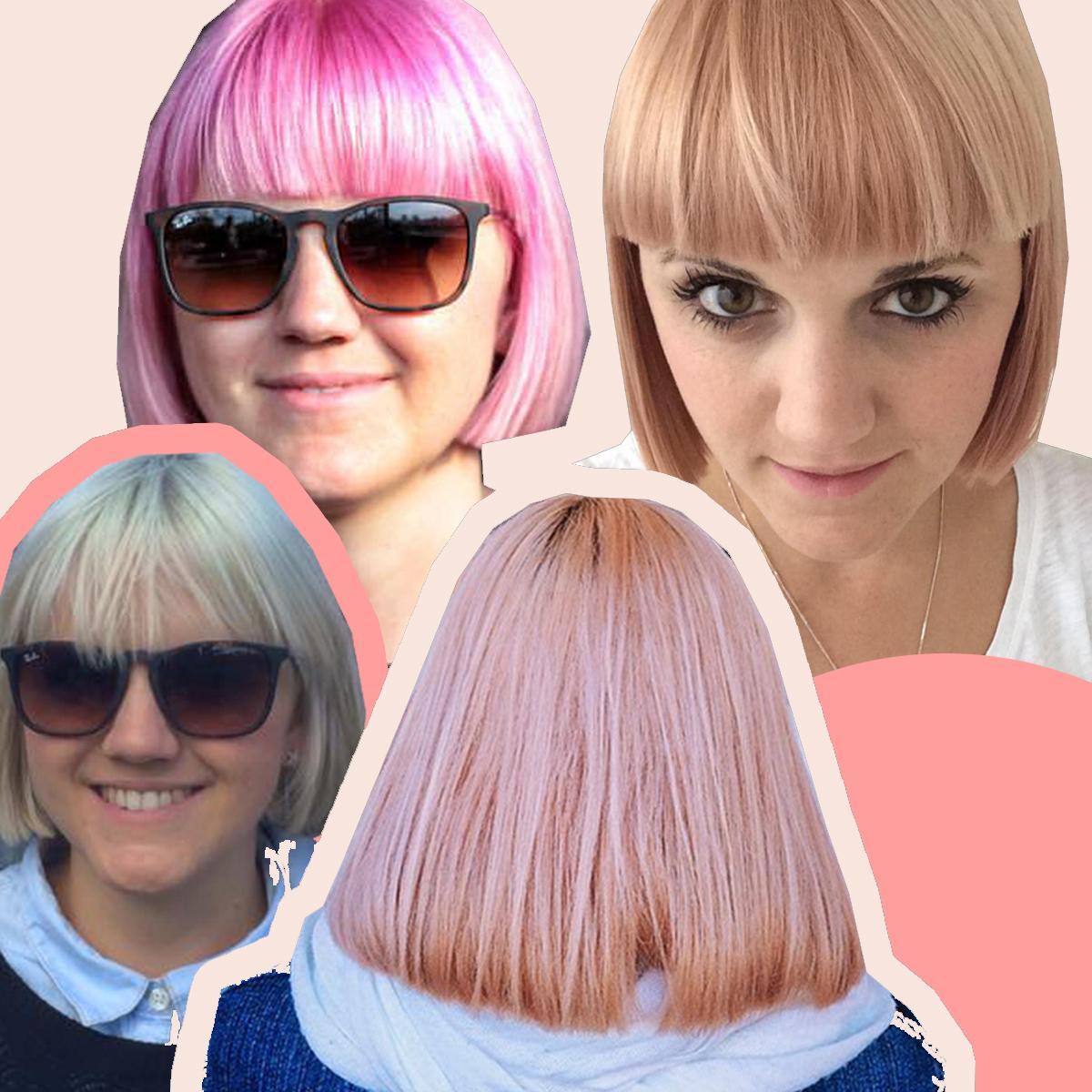 Femme avec une blonde platine et un bob rose bubblegum