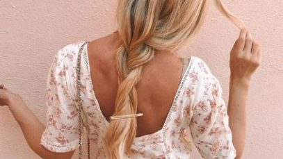 Blonde woman with simple braid