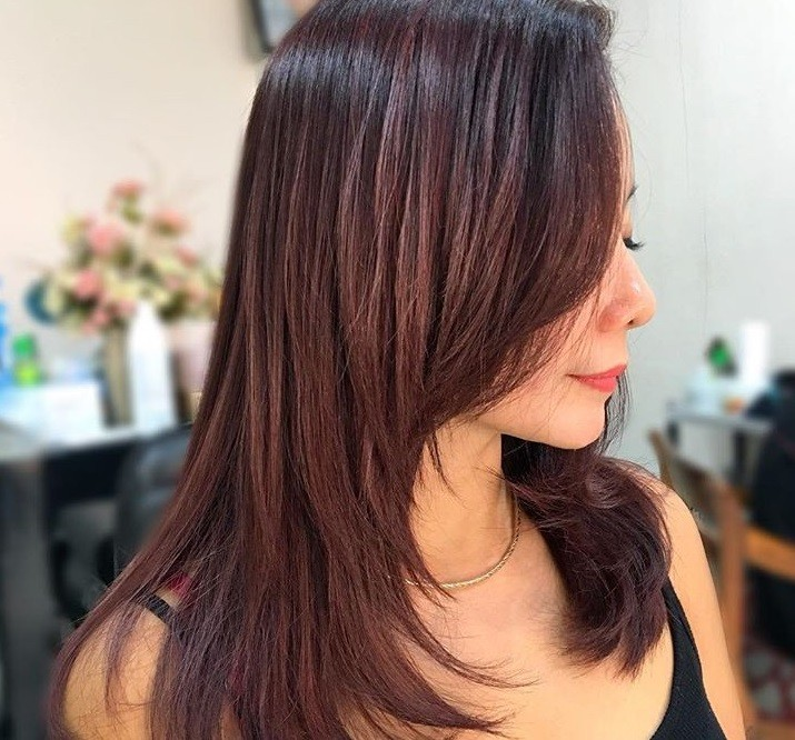 Cheveux bruns roux : Gros plan d'une femme aux cheveux acajou moyennement longs aux épaules, avec plusieurs épaisseurs.