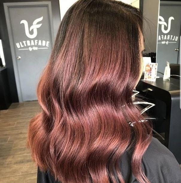Cheveux bruns roux : Gros plan d'une femme avec de longs cheveux bruns roses.
