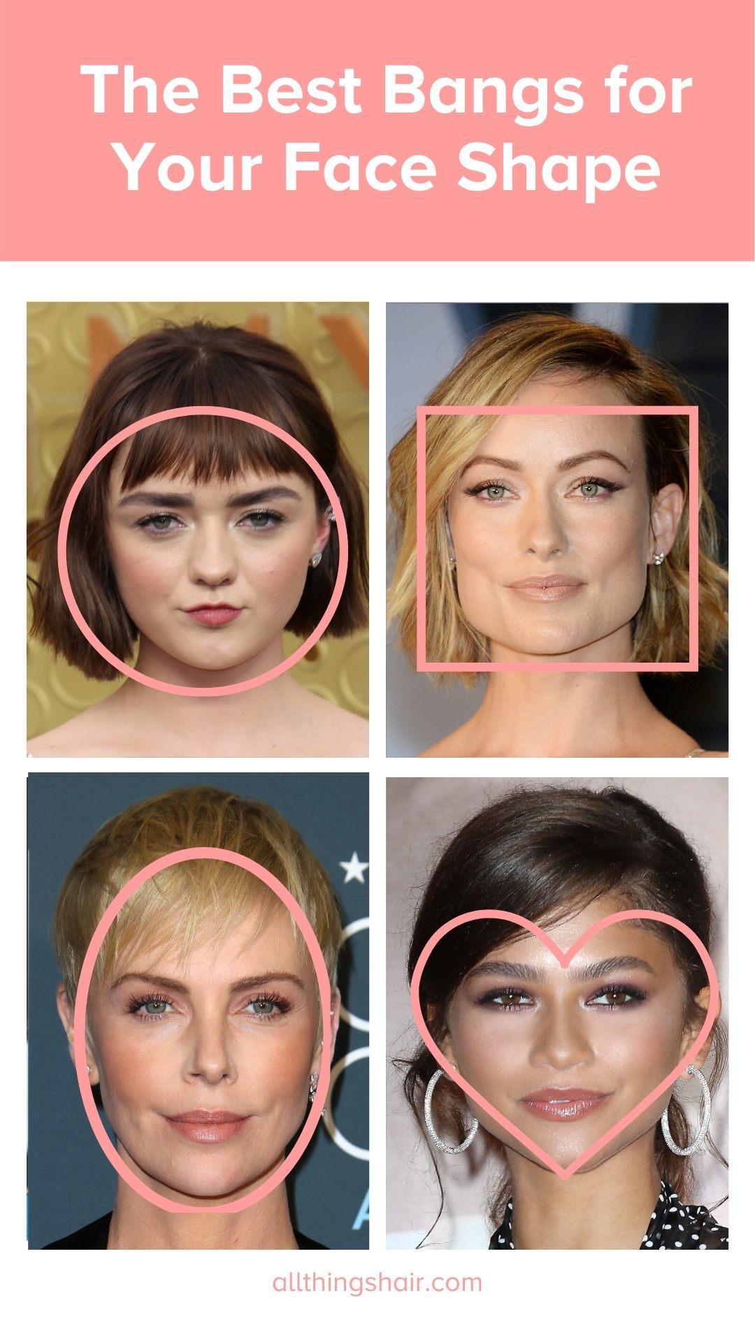 Infographie sur les différentes formes de visage et la frange