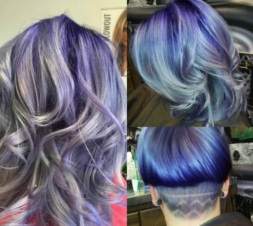 femme avec un style ombre violet avec une sous-coupe à motifs