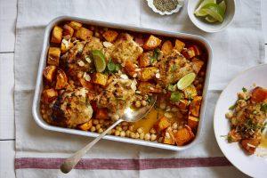 patate douce, pois chiches et poulet au four