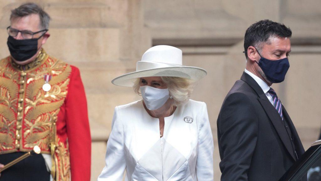Camilla, duchesse de Cornouailles, assiste à l'ouverture officielle du Parlement à la Chambre des Lords le 11 mai 2021 à Londres, en Angleterre.