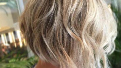 Blonde slightly wavy inverted bob