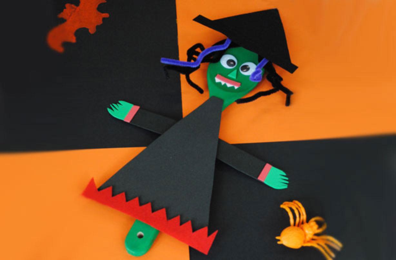 La sorcière en papier est l'un de nos bricolages d'halloween pour les enfants.