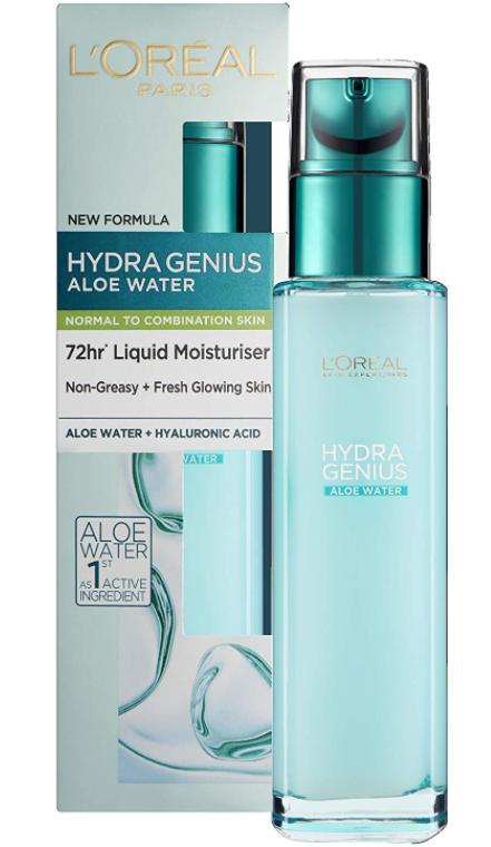 L'Oréal Paris Hydra Genius Hydratant Liquide à l'Acide Hyaluronique et à l'Aloe.