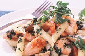 Penne au saumon et aux crevettes