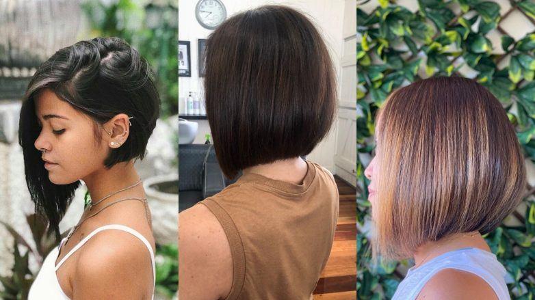 Trois femmes avec des coupes de cheveux concaves