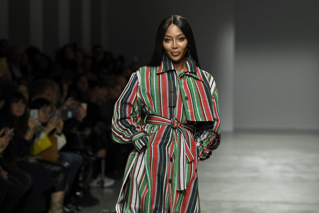 Naomi Campbell walks the runway during the Kenneth Ize show as part of the Paris Fashion Week Womenswear Fall/Winter 2020/2021 on February 24, 2020 in Paris, France
