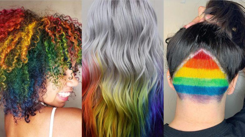 Collage de trois looks de cheveux arc-en-ciel pour la Pride