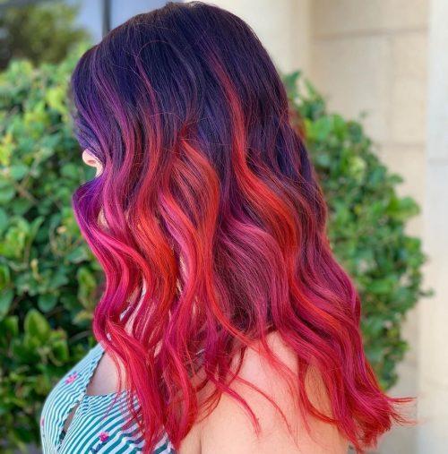Rouge, rose et violet