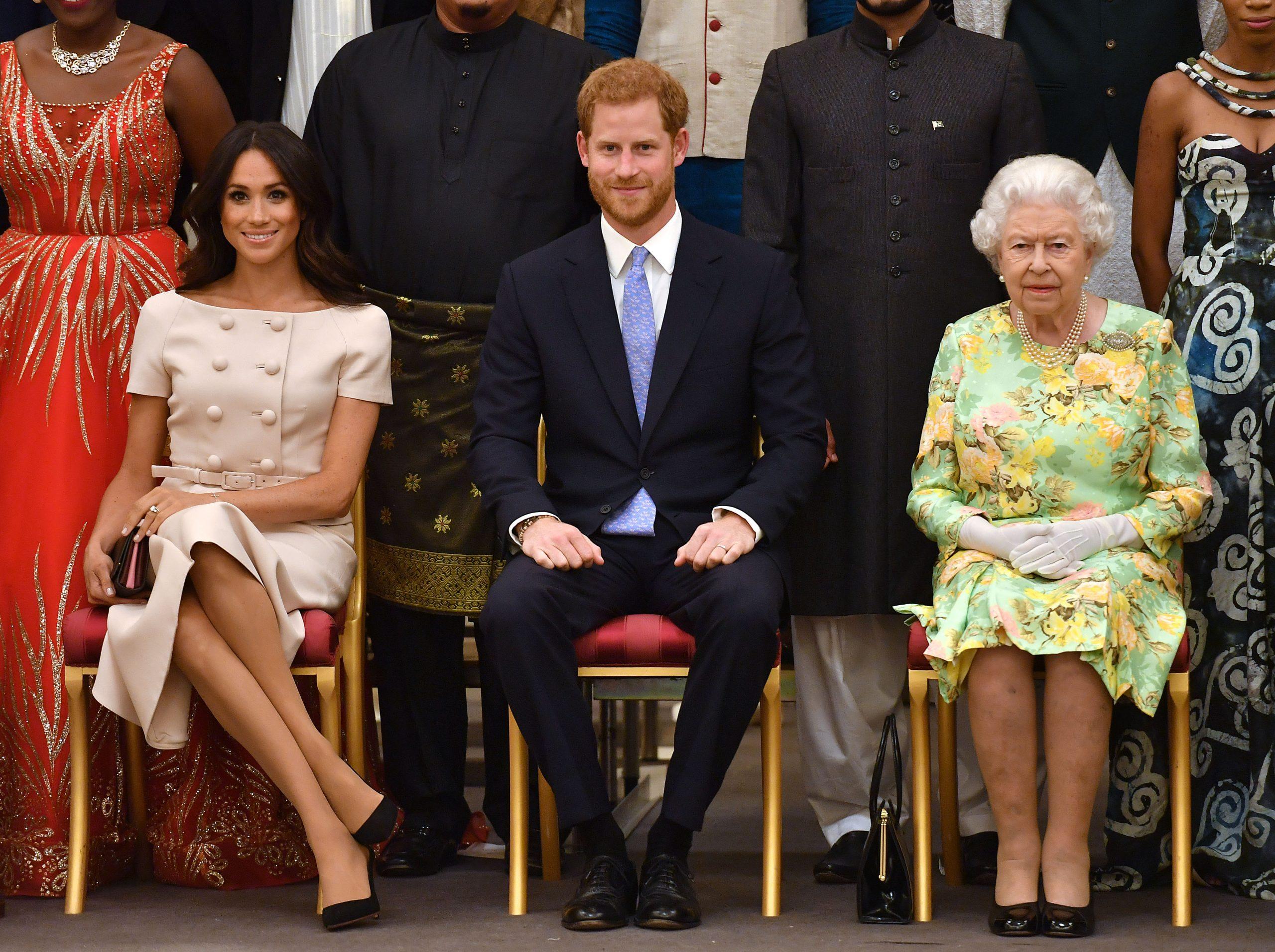 Le duc et la duchesse de Sussex avec la reine Elizabeth II.
