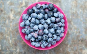 Fruits à faible teneur en calories Myrtilles dans un bol rose