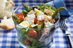 Salade de saumon, d'oeufs et d'asperges Recettes de saumon en conserve