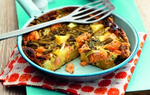 Frittata au saumon, aux asperges et aux pommes de terre