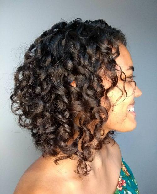 long curly a line bob
