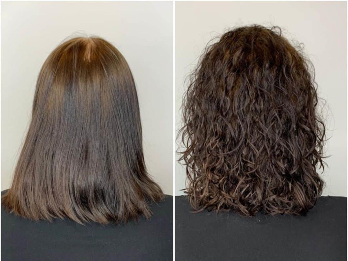 cheveux ondulés permanentés avant et après