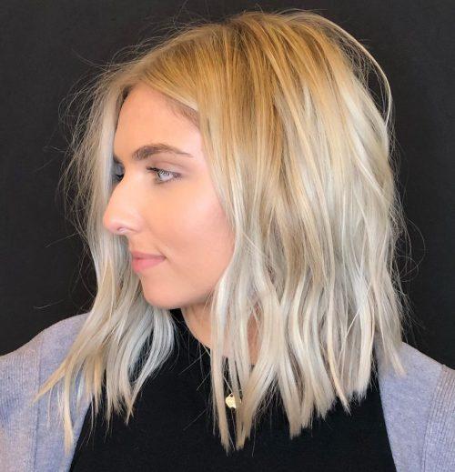 bob long ondulé pour cheveux fins