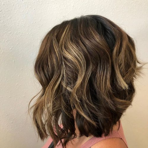 long layered bob wavy hair