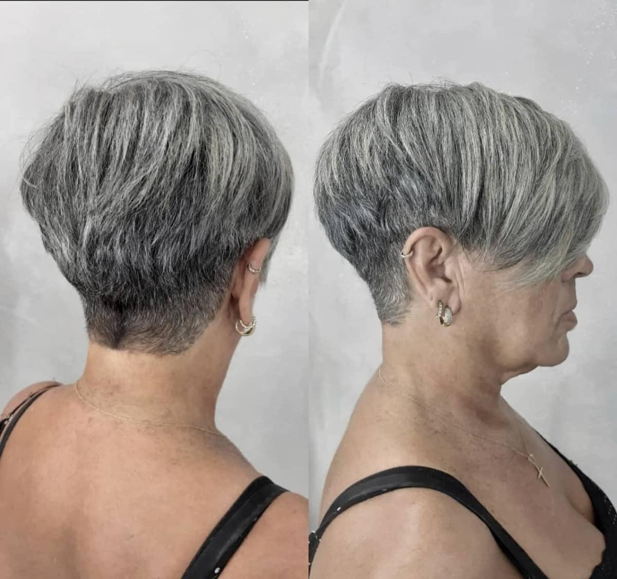 Coupe courte pixie sel et poivre pour les femmes vieillissantes.