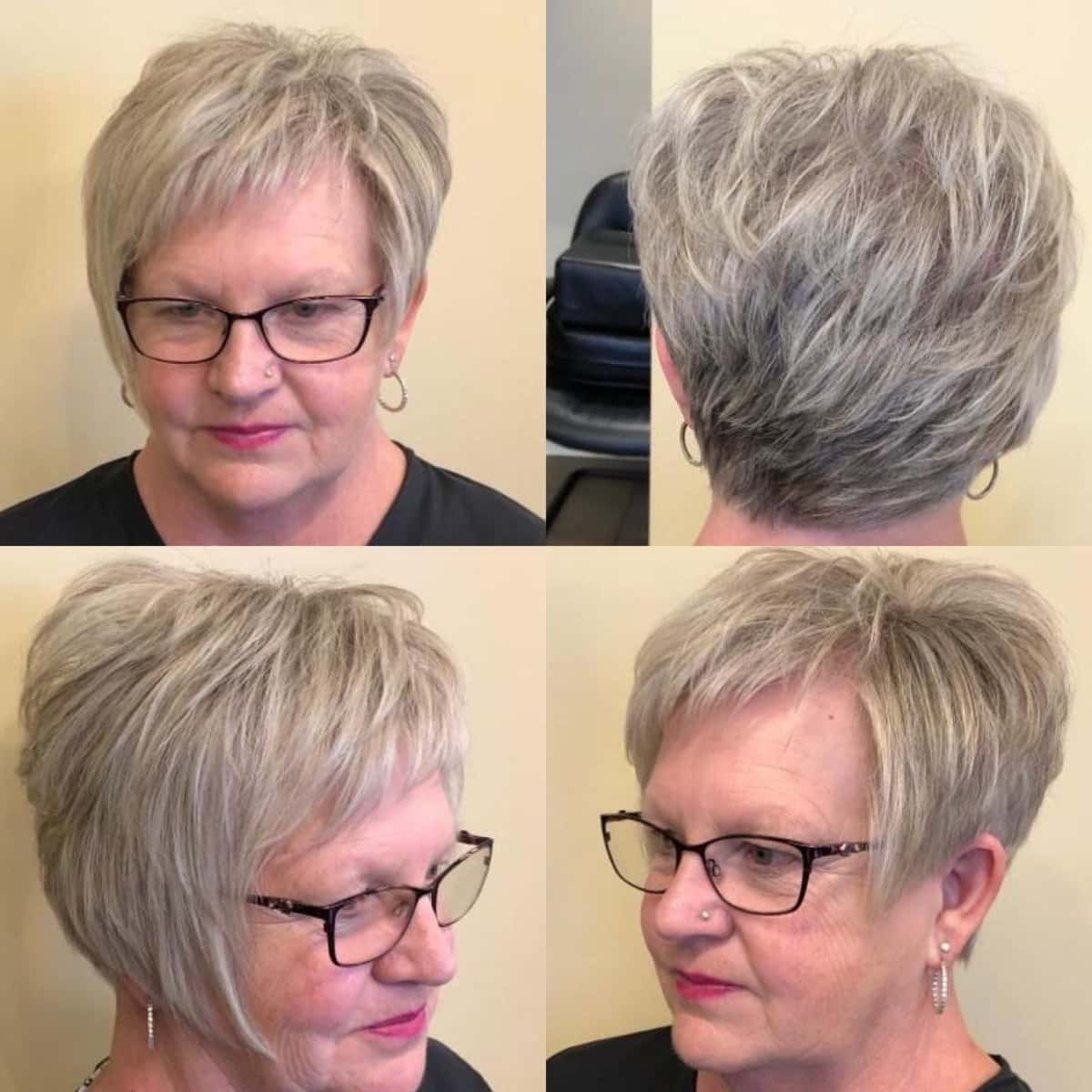 coupe pixie edgy avec des lunettes pour les femmes de 60 ans