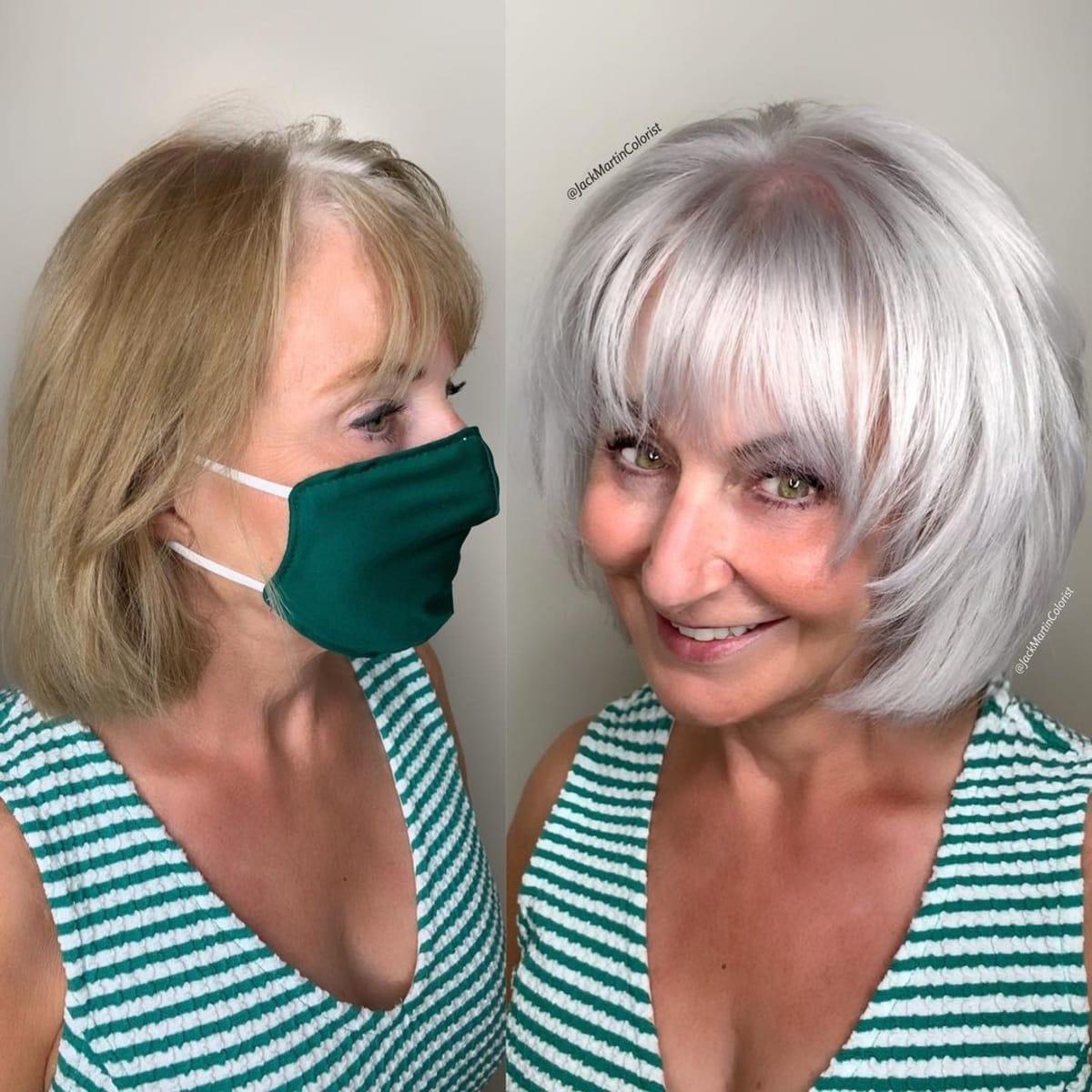 Shag court et dégradé pour les femmes de plus de 50 ans avec des cheveux gris épais.