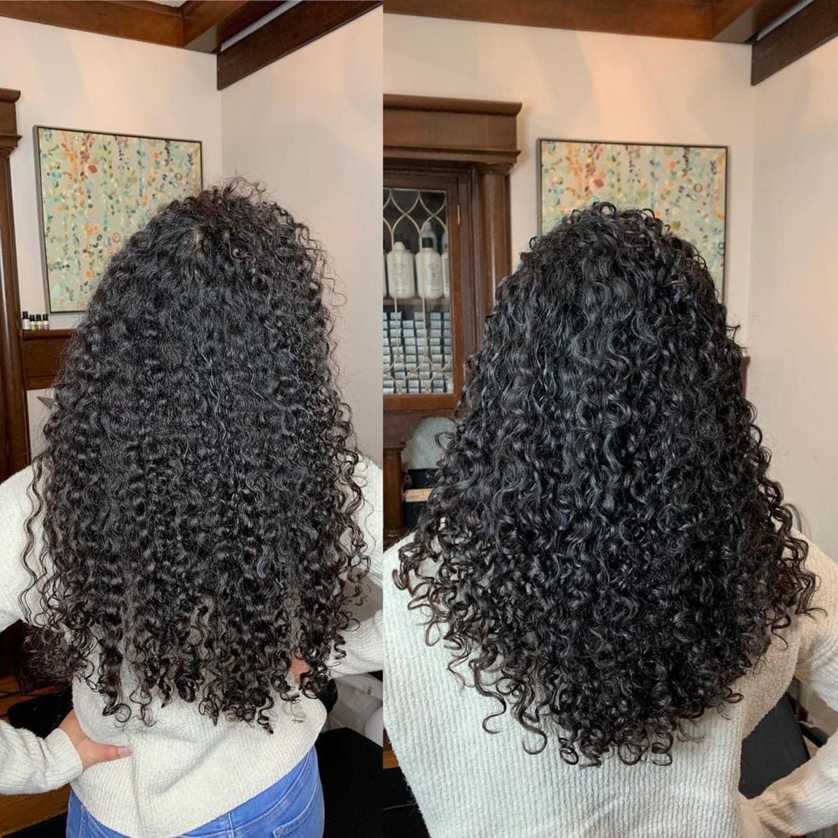 Couches modernes en forme de V pour cheveux naturellement bouclés