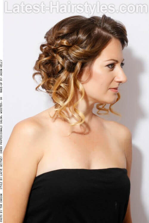 Sweet Simple Curly Updo Side