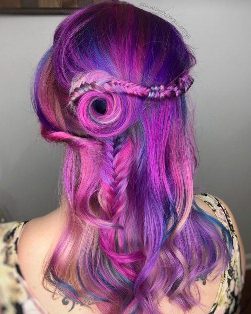 Bleu, rose et violet