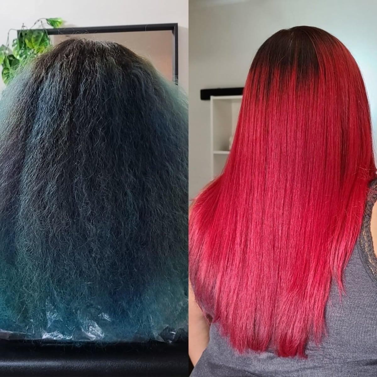 Rouge vif avant et après la transformation des cheveux